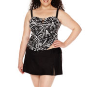 Delta Burke® Vortex Lace-Up Tankini Swim Top or Slit Skirted Swim Bottoms - Plus
