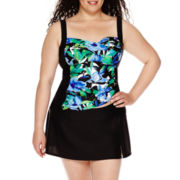 Delta Burke® Royal Hawaiian Twist Shirred Tankini Swim Top or Slit Skirted Swim Bottoms - Plus