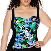 Delta Burke® Royal Hawaiian Twist Shirred Tankini Swim Top  - Plus