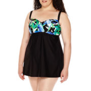 Delta Burke® Royal Hawaiian Drape Swimdress - Plus
