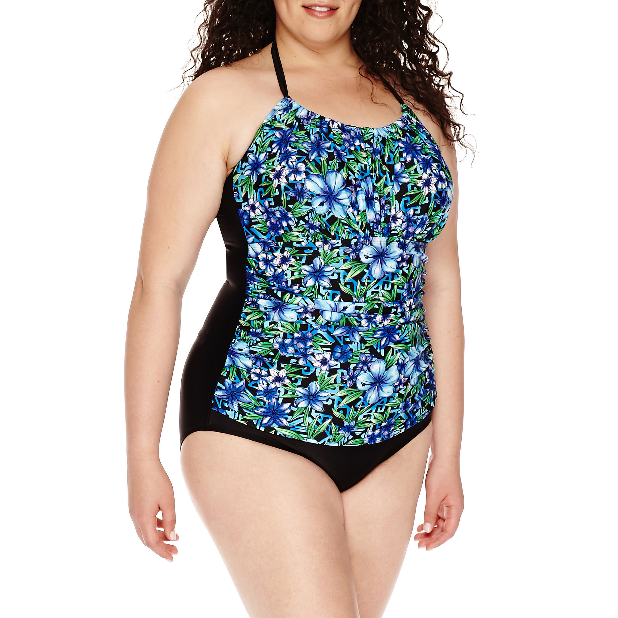 Delta Burke Santorini High-Neck Shirred Mio 1-pc. Swimsuit - Plus plus size,  plus size fashion plus size appare