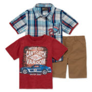 3-pc. Short-Sleeve Shirt, Tee and Shorts Set - Toddler Boys 2t-4t