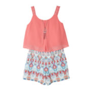 by&by Girl Romper with Necklace - Girls 7-16