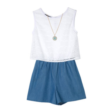 jcpenney.com | by&by Girl Chambray Lace Romper with Necklace - Girls 7-16