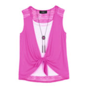 by&by Girl Sleeveless Tie-Front Top with Necklace – Girls 7-16
