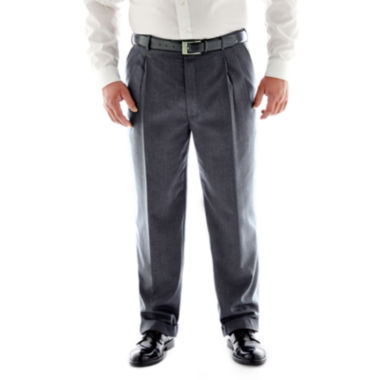 jcpenney.com | Stafford® Travel Charcoal Pleated Suit Pants - Big & Tall