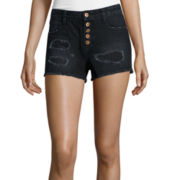 Arizona Destructed Denim Shorties - Juniors