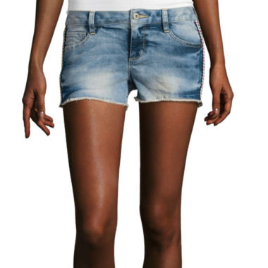 jcpenney.com | Arizona Side Embroidered Raw Hem Denim Shorts