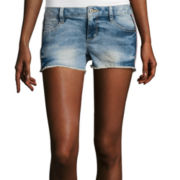 Arizona Side Embroidered Raw Hem Denim Shorts