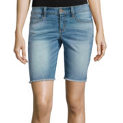 Arizona Low-Rise Raw-Edge Denim Bermuda Shorts