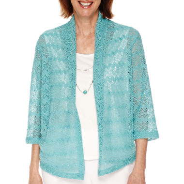 jcpenney.com | Alfred Dunner® Sanibel Island 3/4-Sleeve Textured Layered Shirt - Petite