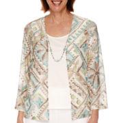 Alfred Dunner® Sanibel Island 3/4-Sleeve Layered Shirt - Petite