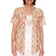 Alfred Dunner® Feels Like Spring Short Sleeve Chevron Texture 2Fer Shirt