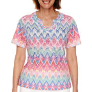 Alfred Dunner® Tropical Punch Short-Sleeve Zigzag Burnout Tee - Petite