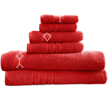 jcpenney.com | Diamond Embroidered Egyptian Cotton 6-pc. Towel Set