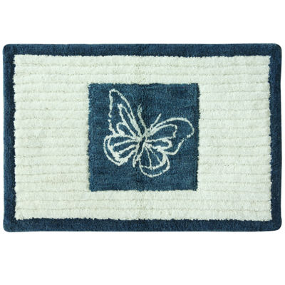 Bacova Indigo Wildflowers Bath Rug