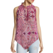 BELLE + SKY™ Sleeveless Handkerchief-Hem Bow-Tie Top