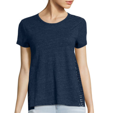 jcpenney.com | BELLE + SKY™ Short-Sleeve Eyelet Back Tee