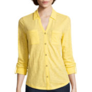 Liz Claiborne® 3/4-Sleeve Button-Front Knit Shirt