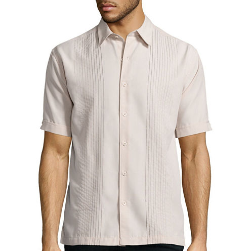 Havanera Co.® Short-Sleeve Texture Ombre Button-Front Shirt