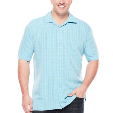 jcpenney.com | The Foundry Supply Co.™ Short-Sleeve Textured Plaid Shirt - Big & Tall