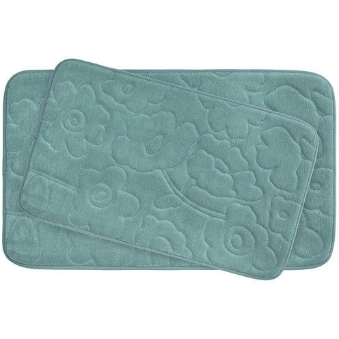 Bounce Comfort Stencil Floral Memory Foam 2-pc. Bath Mat Set