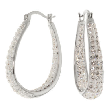 jcpenney.com | Sterling Silver Crystal Inside-Out Hoop Earrings
