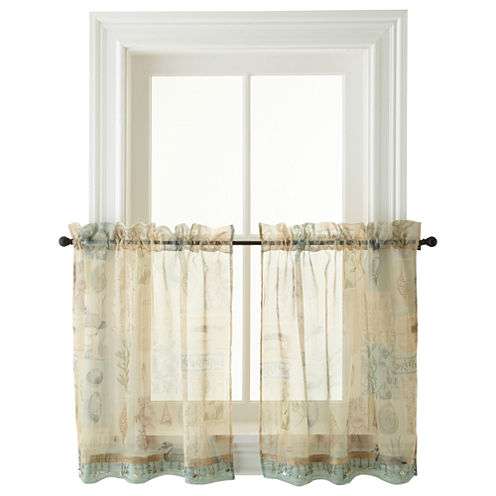 Seascape Rod-Pocket Window Tiers