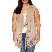 Decree® Sleeveless Suede Vest - Plus