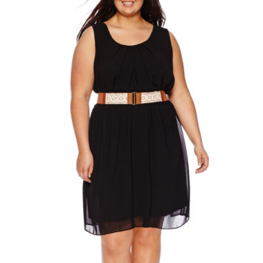 jcpenney.com | by&by Sleeveless Pleated-Neckline Belted Dress - Juniors Plus