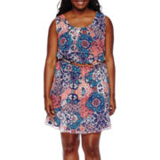 by&by Sleeveless Pleated-Neckline Printed Belted Dress - Juniors Plus