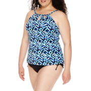 Jamaica Bay® Tribal High-Neck Cut-Out Tankini Swim Top or Swim Bottoms - Plus