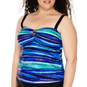 Delta Burke® Ocean Dunes Lace-Up Tankini Swim Top - Plus