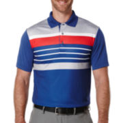 PGA TOUR® Short-Sleeve Heather Stripe Golf Performance Polo