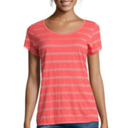 Liz Claiborne® Short-Sleeve Lurex Metallic Tee