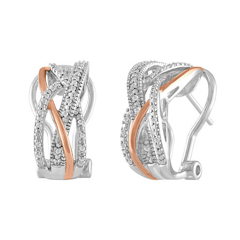 1/10 CT. T.W. White Diamond Sterling Silver Gold Over Silver Hoop Earrings
