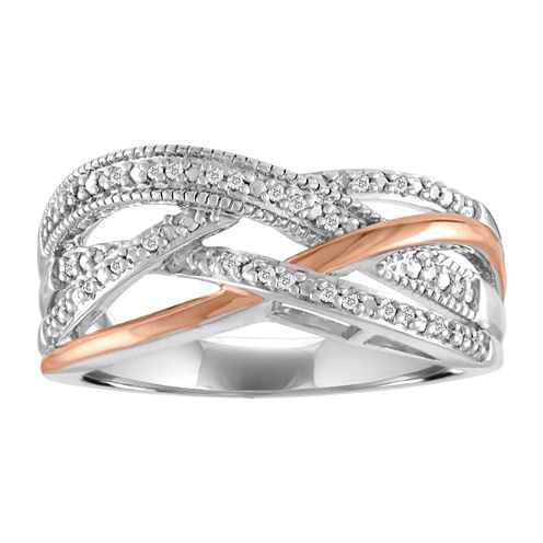 Womens 1/10 CT. T.W. White Diamond Sterling Silver Gold Over Silver Cocktail Ring