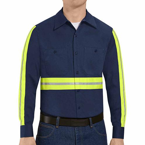Red Kap® Enhanced-Visibility Industrial-Cotton Long-Sleeve Work Shirt - Big & Tall