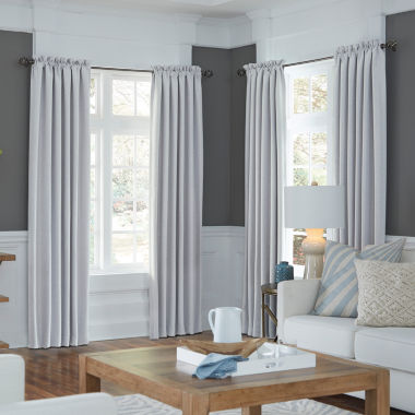 jcpenney.com | JCPenney Home Made-To-Length Textured Blackout Rod-Pocket Poly-Cotton Lined Curtain Panel