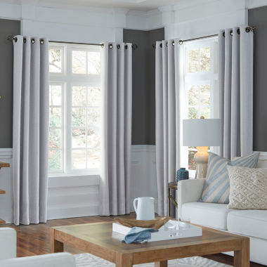 jcpenney.com | JCPenney Home Made-To-Length Textured Blackout Grommet-Top Poly-Cotton Lined Curtain Panel