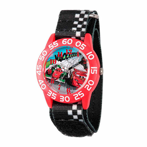 Disney Cars Boys Black Strap Watch-Wds000020