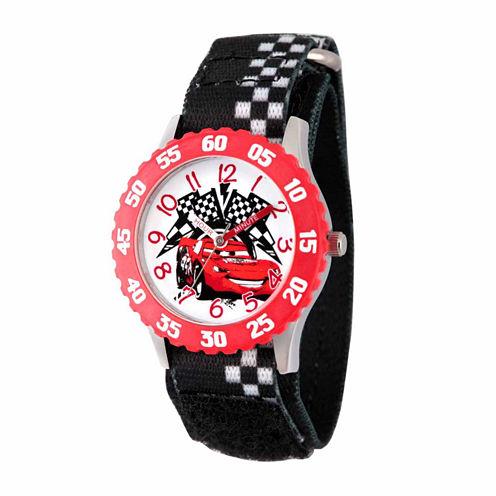 Disney Cars Boys Black Strap Watch-Wds000028