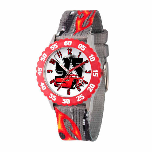 Disney Cars Boys Gray Strap Watch-Wds000029