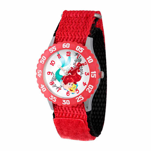 Disney The Little Mermaid Girls Red Strap Watch-Wds000048