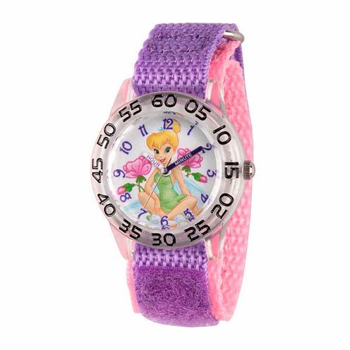 Disney Tinker Bell Girls Purple Strap Watch-Wds000104