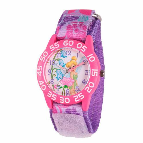 Disney Tinker Bell Girls Purple Strap Watch-Wds000105