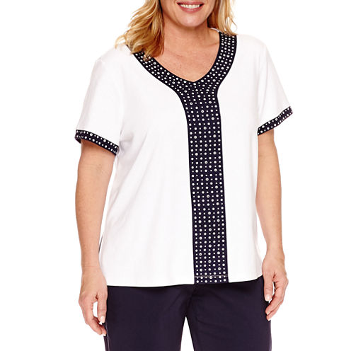 Alfred Dunner Seas The Day Short Sleeve V Neck T-Shirt-Womens Plus