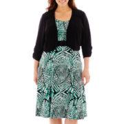 Perceptions Elbow-Sleeve Knit Jacket Dress - Plus