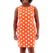 Alyx® Sleeveless Polka Dot Sheath Dress - Plus