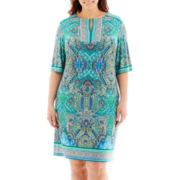 Sandra Darren Elbow-Sleeve Scoopneck Dress - Plus